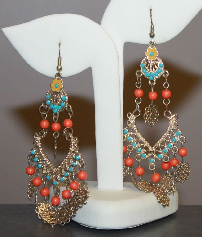 India style chandelier dangle earrings gold tone filigree faux india style chandelier dangle earrings gold tone filigree faux turquoise coral chandelier aloadofball Image collections