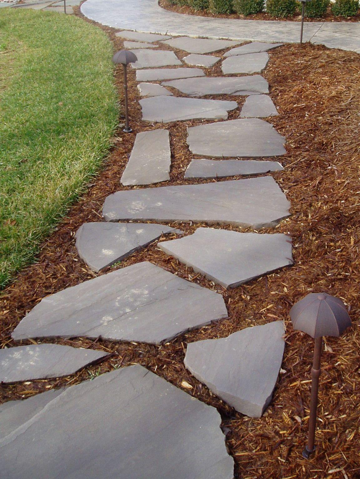 Sidewalk ideas pictures landscape design build slate for Landscape design build