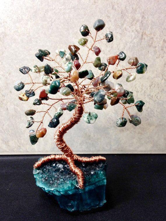 Beautiful HEMATITE Gemstone Bonsai Tree for Healing Stones