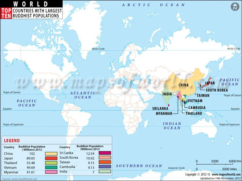 World Top Ten Countries With Largest Buddhist Populations Map New - new world map by population