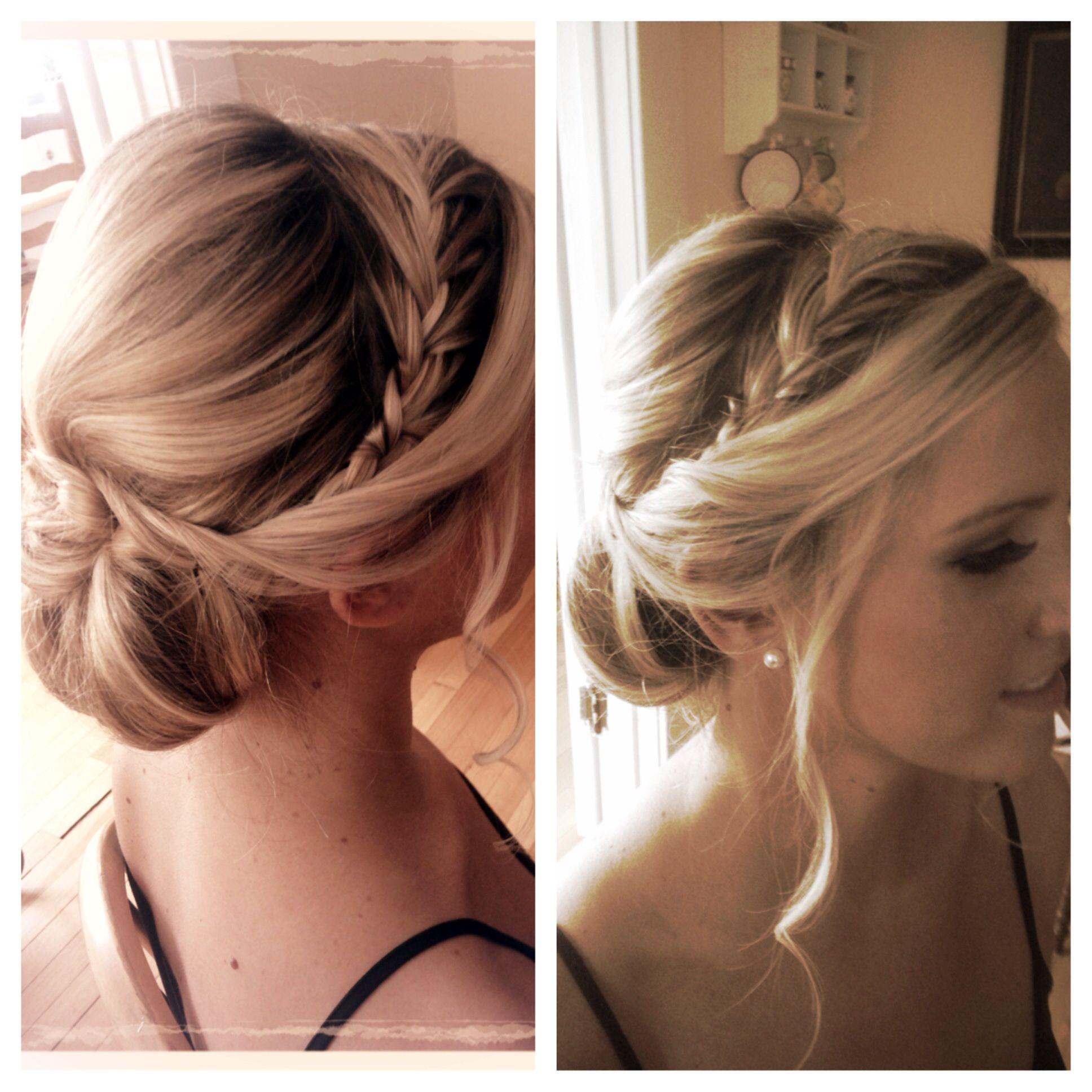 low loose braided chignon www.jillain bride wedding bridal hair
