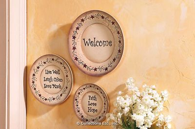 Country Primitive Decorative Wall Plates from Collections Etc. & Country Primitive Decorative Wall Plates from Collections Etc ...