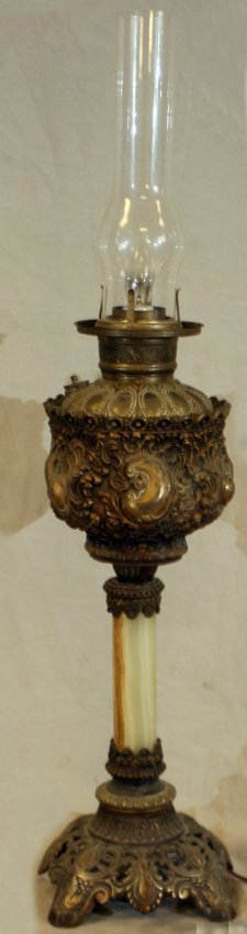 Victorian oil lamp that has been electrified.
