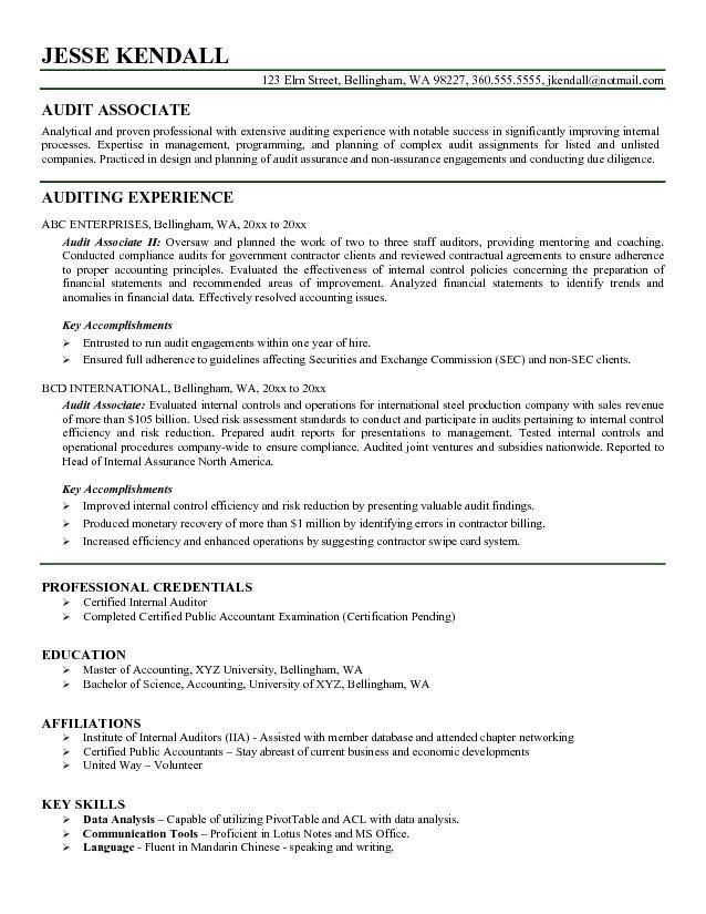 Auditor Resume Example Resume Pinterest Resume examples - internal resume examples