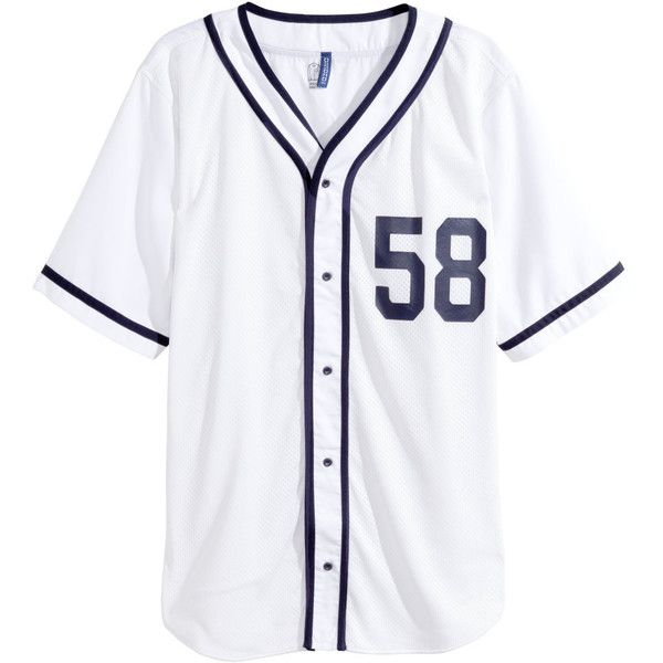 53bbb0a1af004 H M Baseball Shirt  15 (47 BRL) ❤ liked on Polyvore featuring tops ...