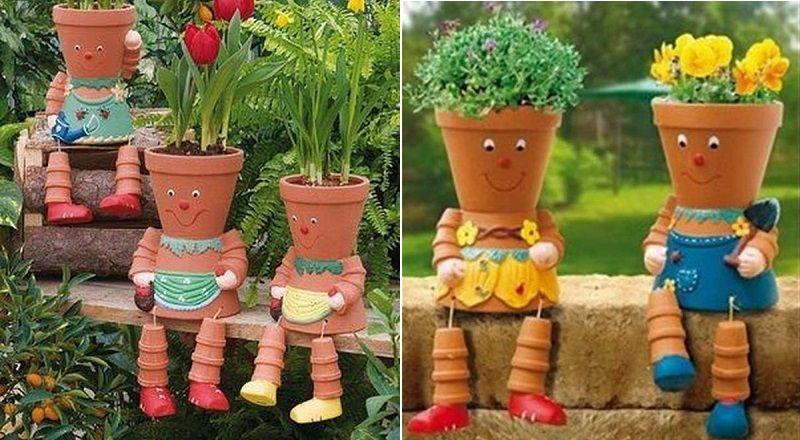 Fabriquer des personnages en pot de terre cuite! Jardin et décor