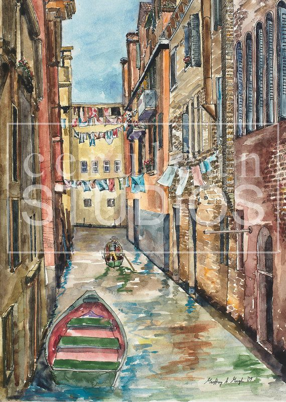 Venice Canal, Italy watercolor painting, Venice print, Italian Home