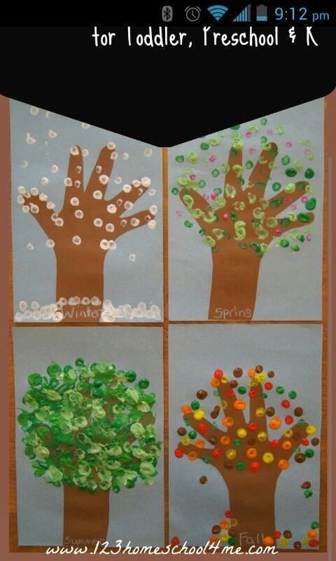 Four seasons hand print trees | Seasons activities ...