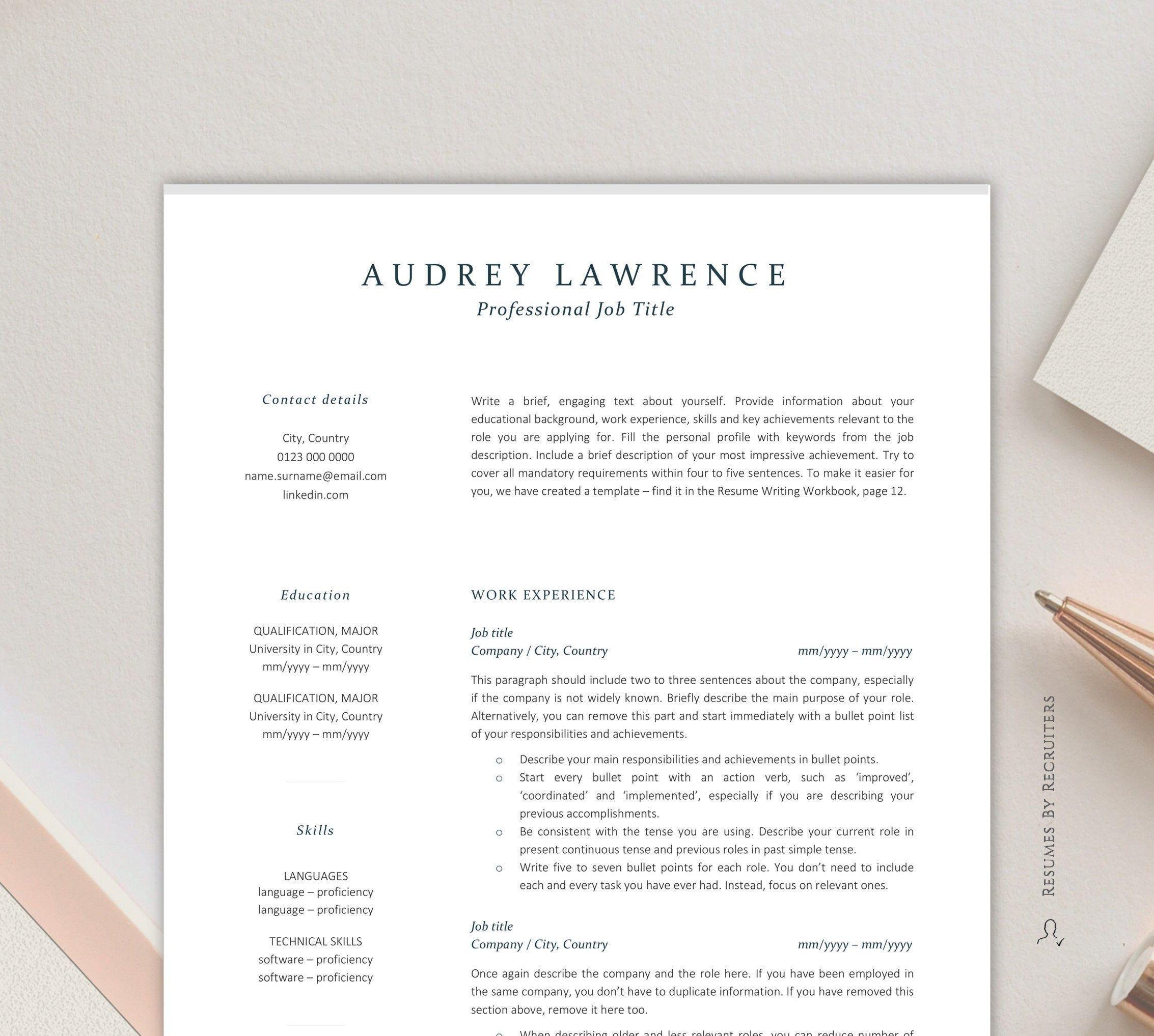 Elegant resume template for finance instant download cv