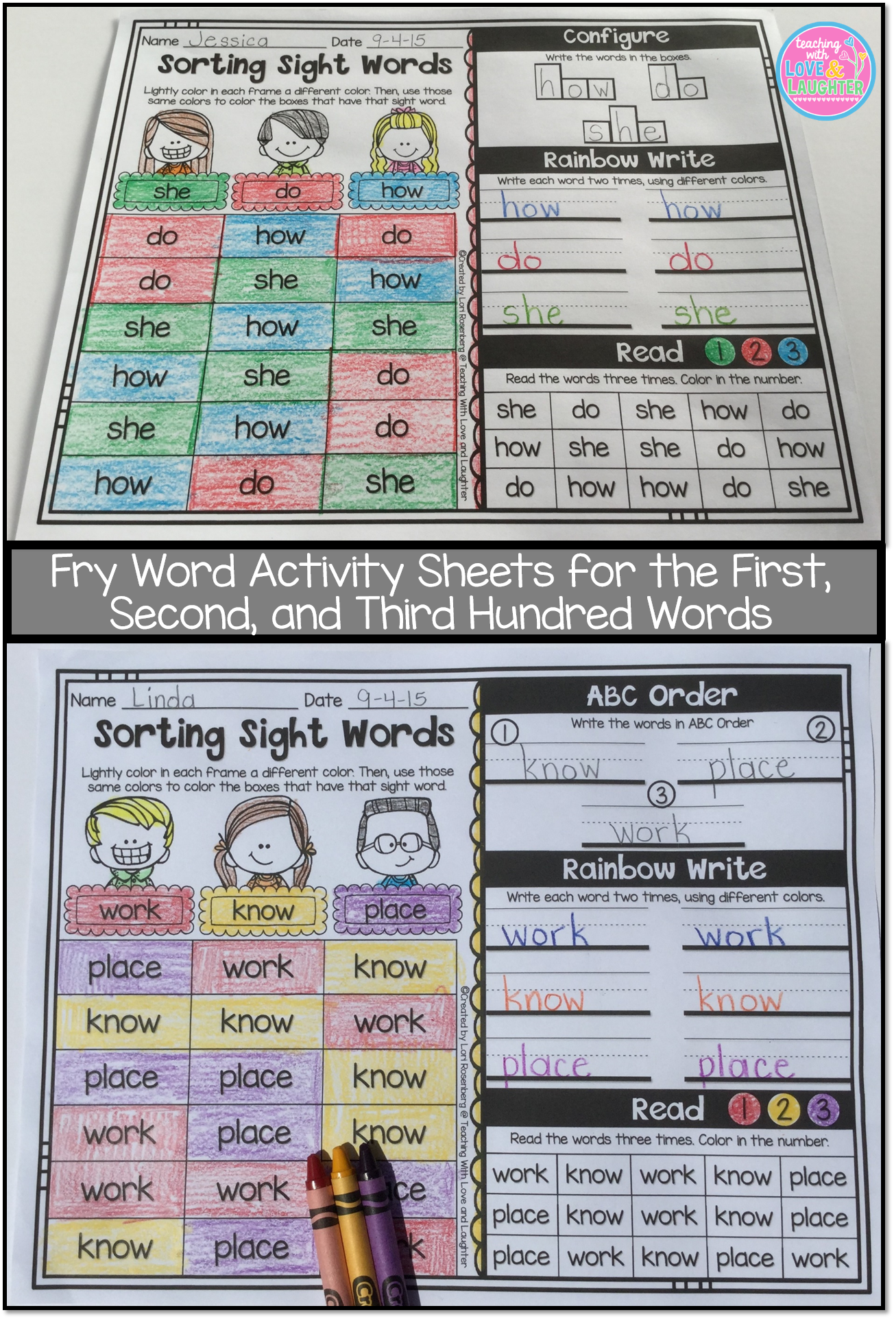 Fry Word Activity Bundle First Second And Third Hundred