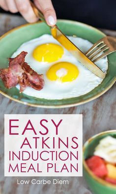Easy Atkins Induction Meal Plan: No recipes needed, just basic whole food combinations. Choose from two printable meal plans: 20 net or 40 net carbs/day. #atkinsmeals