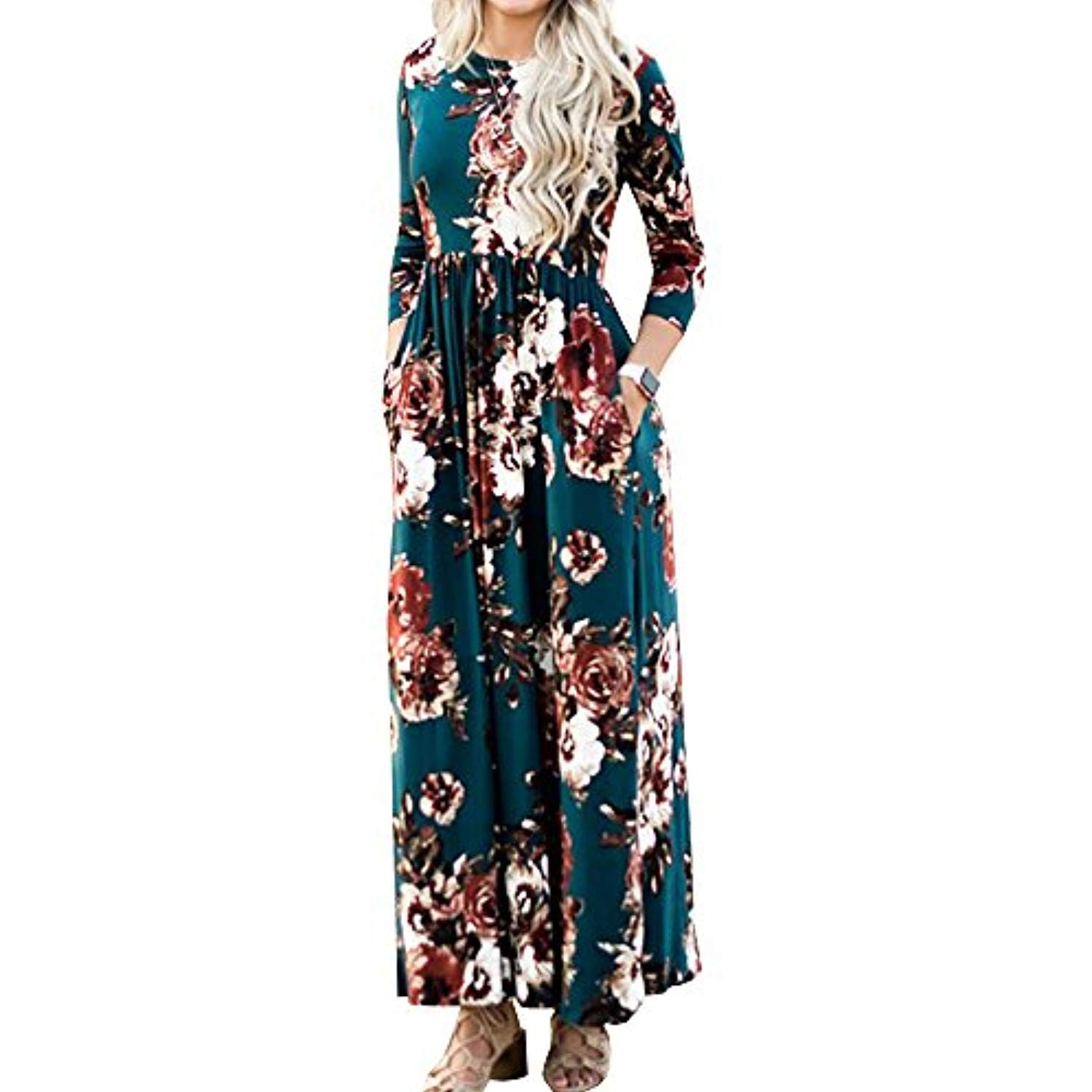 Womens Floral Maxi Dress 3 4 Sleeve Empire Waist Floor Length Boho Pleated Casual Women Maxi Dresses Summer Evening Gowns With Sleeves Womens Floral Maxi Dress [ 1500 x 1500 Pixel ]