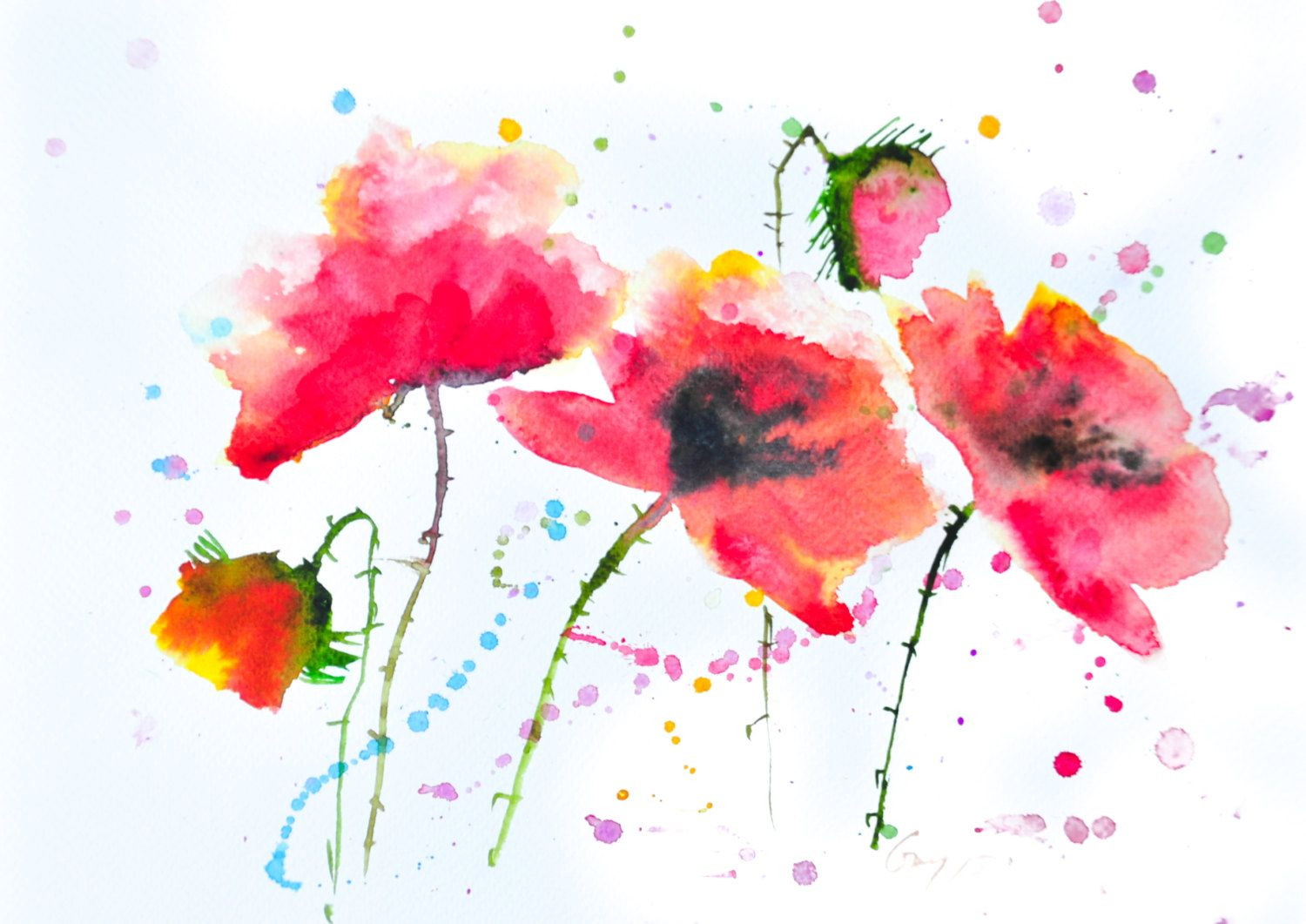 Red Poppy Original Watercolor Painting On Paper With Signed Size