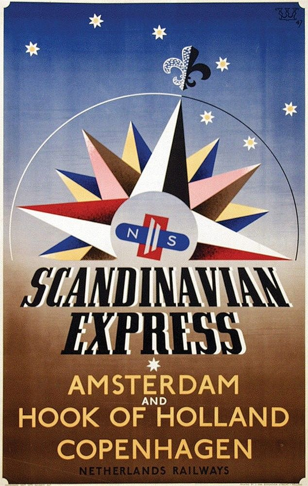 Poster By Fedde Weidema Ns Scandinavian Express Art Deco Posters Retro Poster Vintage Travel Posters