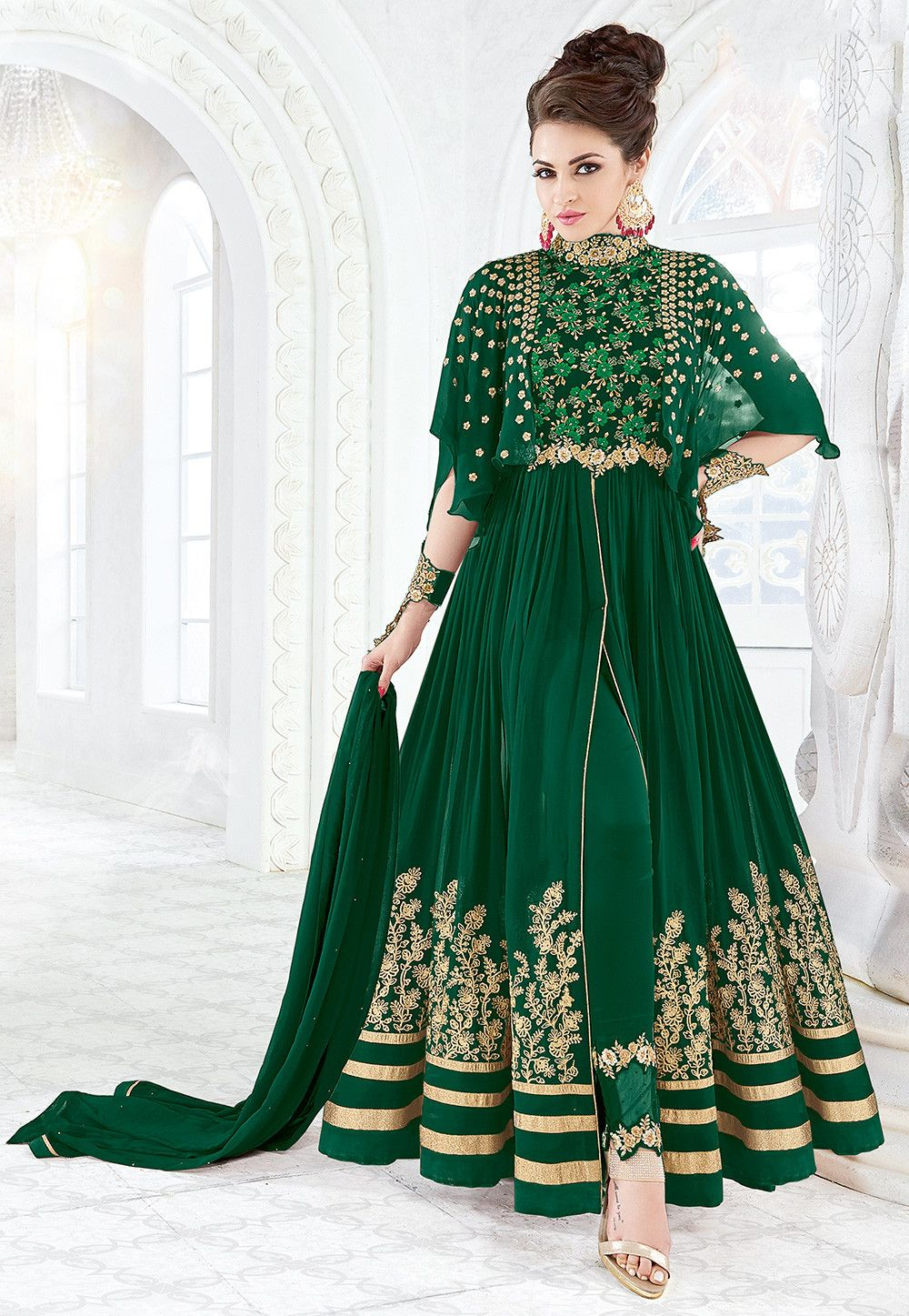 e03129cdd0c Embroidered Georgette Abaya Style Suits in Dark Green