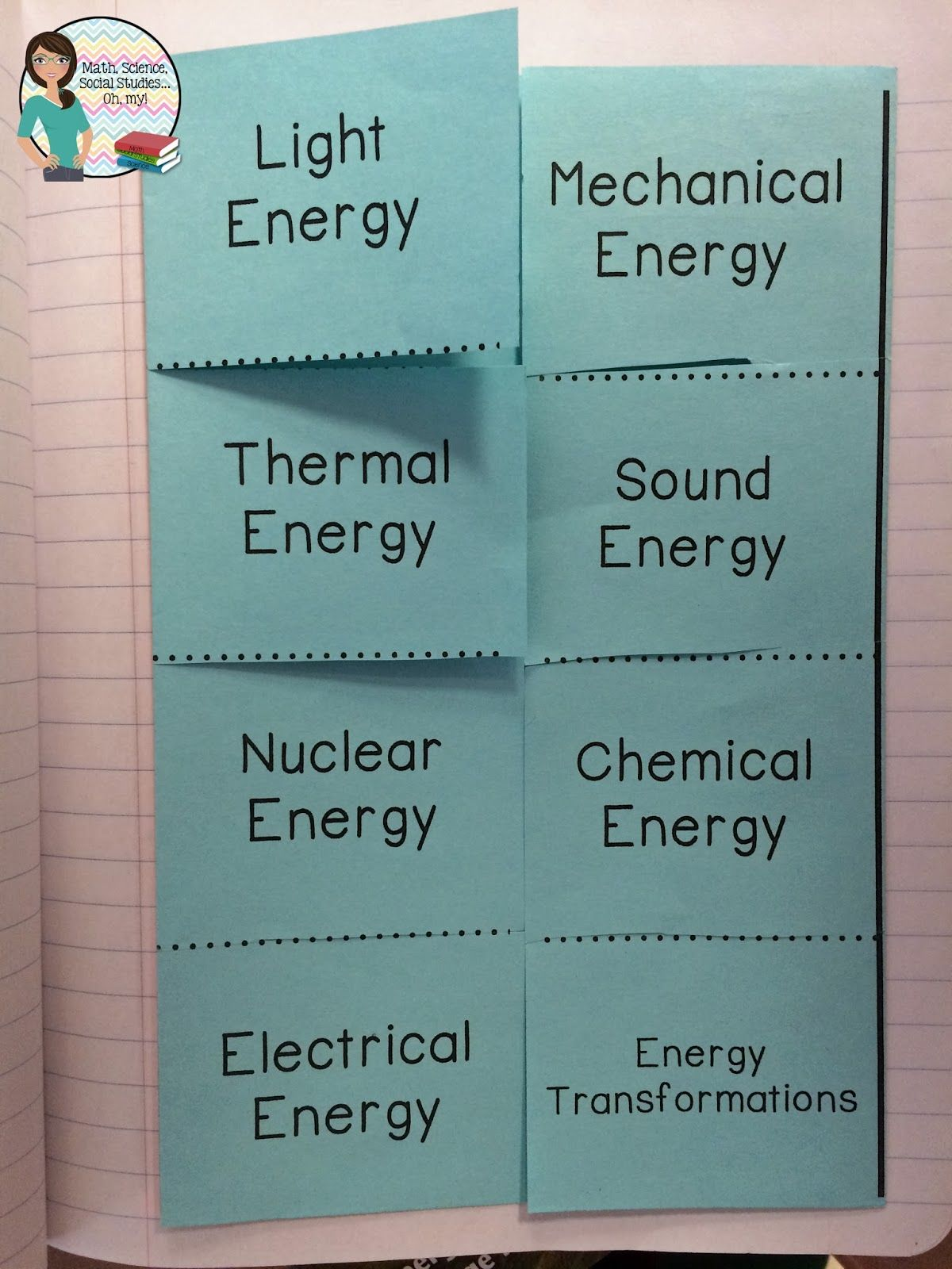types of energy interactive foldable graphic organizer. they were