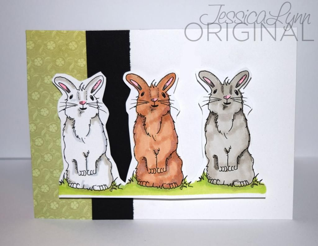 I started by stamping the adorable little bunny three times. I thought it would be fun to color him in different colors using my copic markers. Then when it out I left them all together on the same paper. (didn't cut them apart) Then I added the simple green and black strips in the background. http://www.jessicalynnoriginal.com/jessicalynnoriginal-happy-easter-some-bunny-special-clear-rubber-stamp-set/