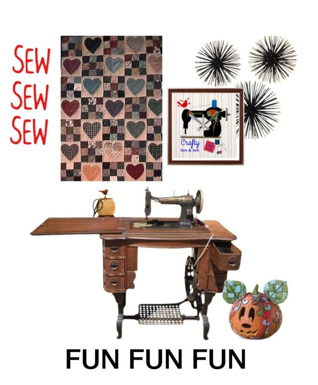 """SEW FUN"" by thesandlappershop ❤ liked on Polyvore featuring art"