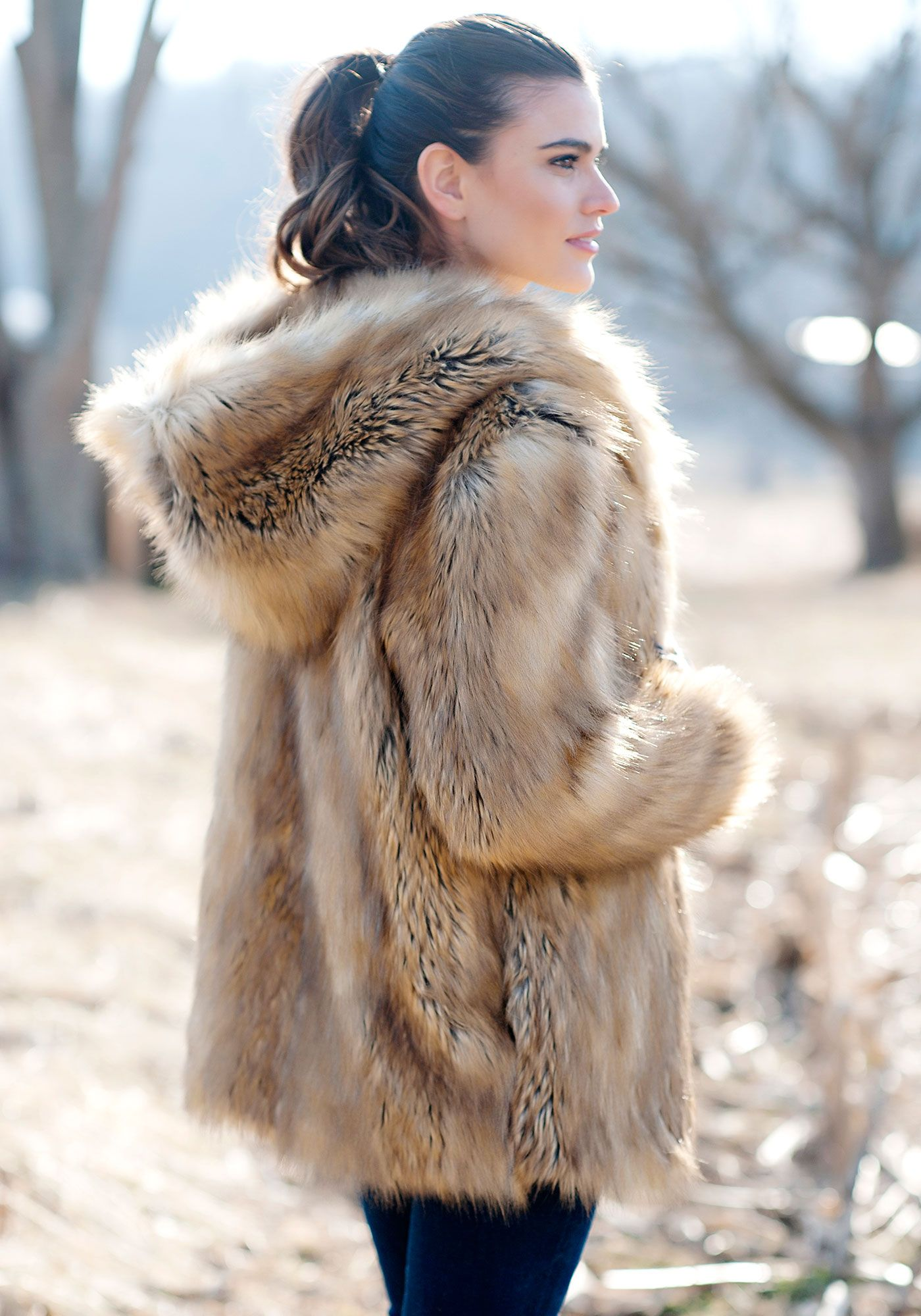Gold Fox Hooded Faux Fur Jacket | Coats, Foxes and Jackets