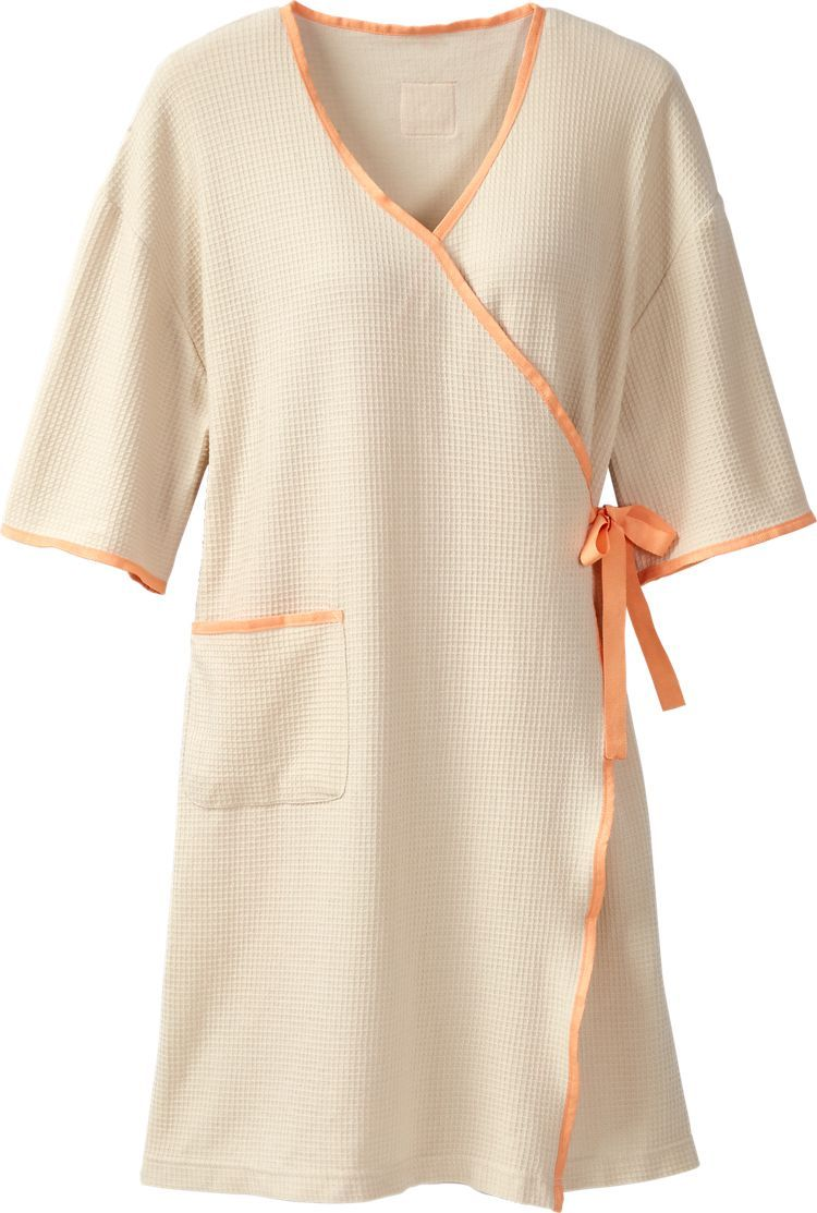Patient Wellness Gown: Unlike those paper-thin exam gowns that rip and tear, this comfortable waffle-weave fabric gown offers full coverage and peace of mind, while not interfering with your doctor's exam or treatment. Carry it along in its travel bag to for preventive care physicals, outpatient procedures, or hospital stays.