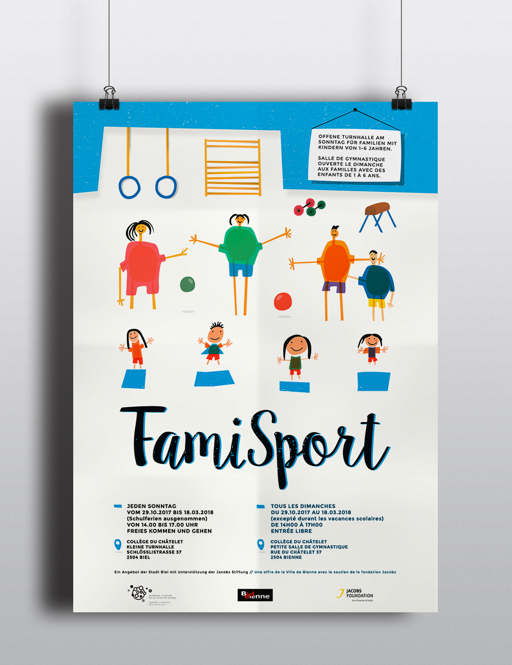Poster to promote a local initiative for families. | Carreras