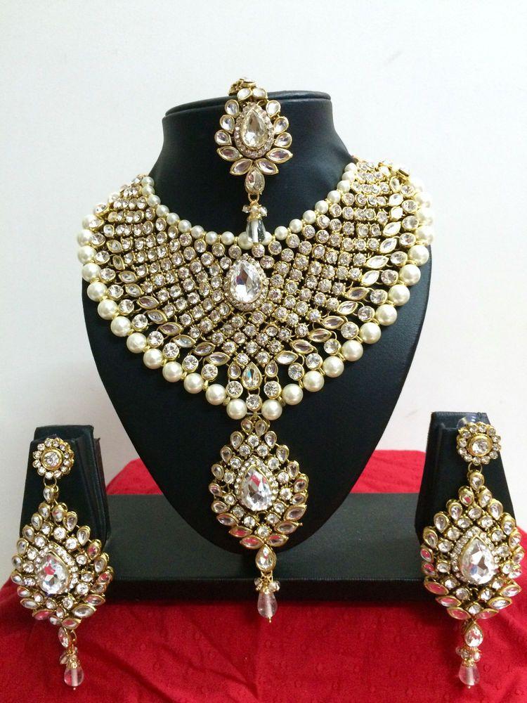 Indian Bollywood Diamante Kundan Pearl Gold Tone Bridal Fashion Jewelry Set CrownJewel