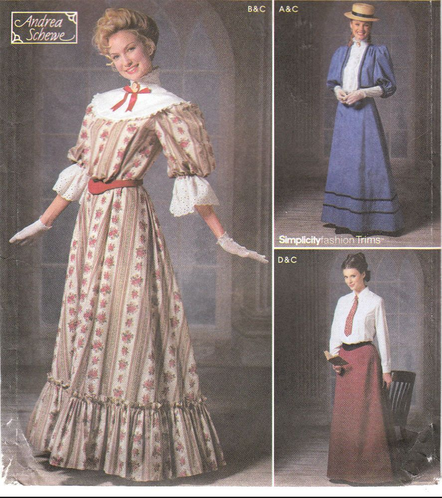 On Stage Gibson Girl School Marm Day Dress Simplicity Costume Sew Pattern  9723 #Simplicity9723 #