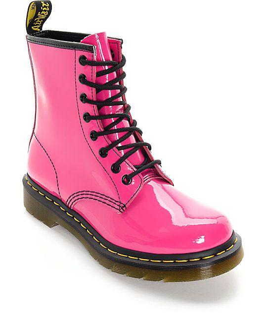 Dr Marten 1460 Hot Pink Patent Lamper Boots Zumiez Boots Pink Doc Martens Patent Leather Boots