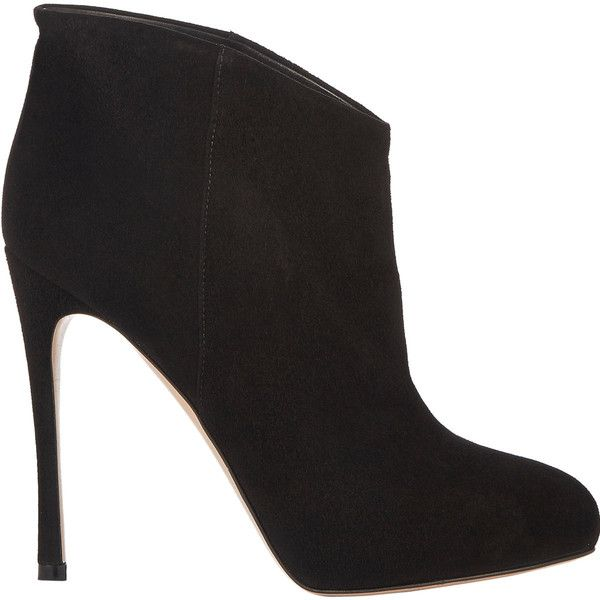 Gianvito Rossi Hidden-Platform Ankle Boots (€875) ❤ liked on Polyvore featuring shoes, boots, ankle booties, black, short suede boots, black booties, short black boots, black suede ankle bootie and short boots