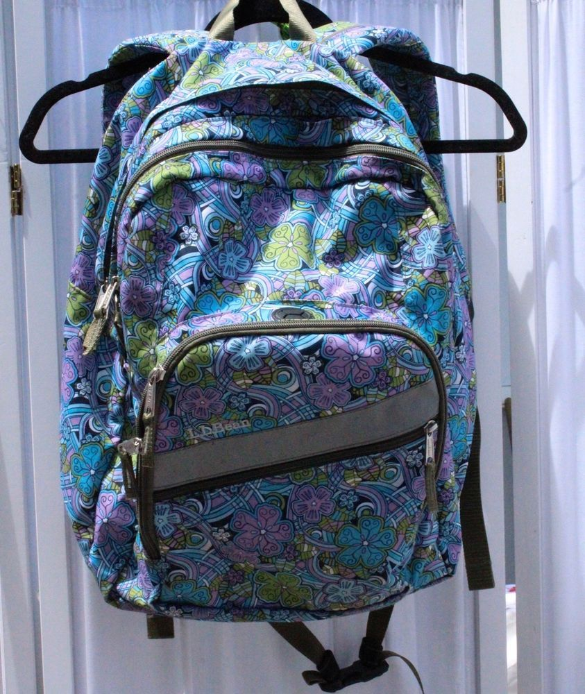 L L Bean Pink Purple Blue Floral Backpack Three Compartment School