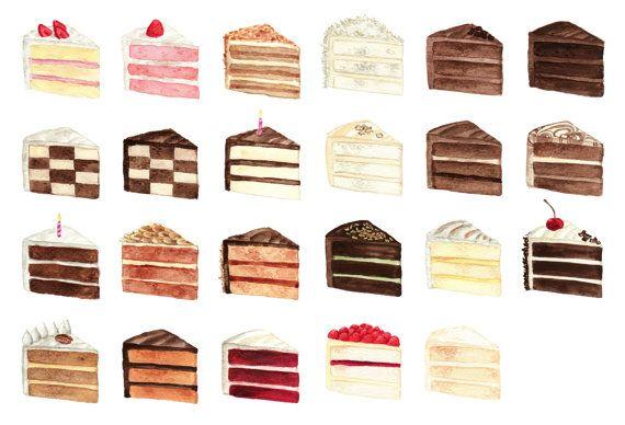 Cake Slice Flavors Menu Watercolor Chart Painting 2 9 X 12