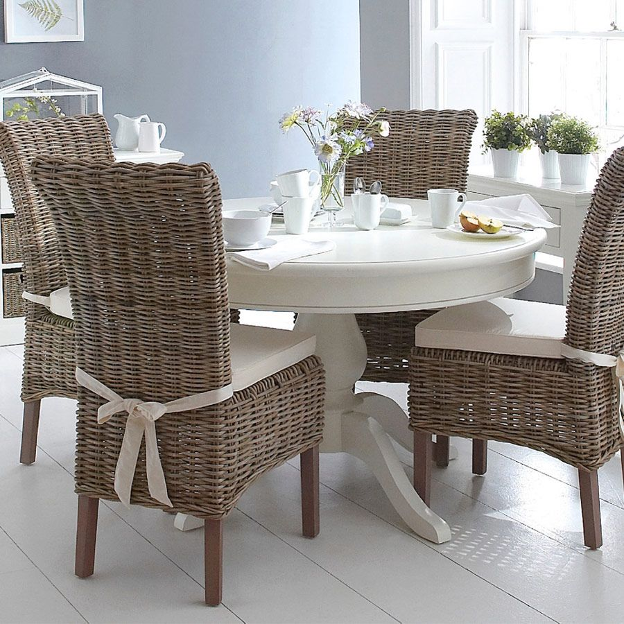Burridge Wicker 4ft Round Dining Table Set In Antique White Oak