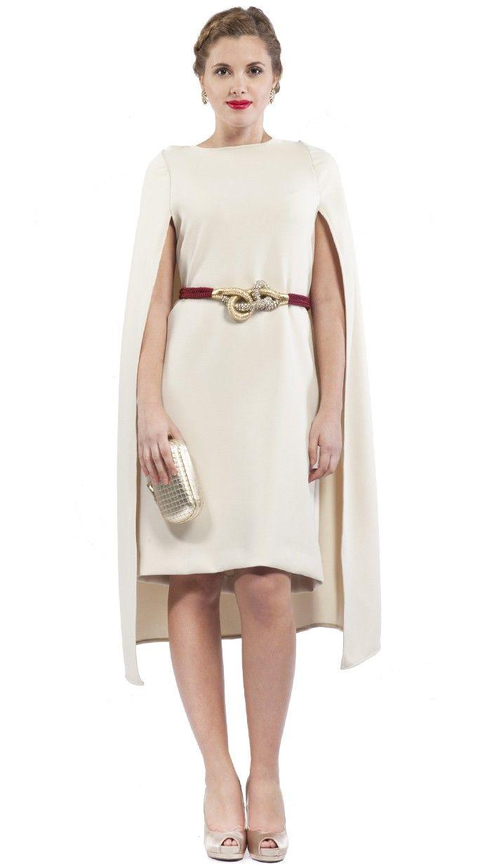 Dresseos vestido capa color crema invitada perfecta for Boda madrid jardin