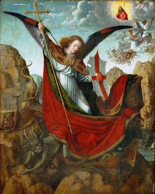 peira:  denisforkas: Gerard David:  Altarpiece of St. Michael, central panel (1510)  Take that you devils!