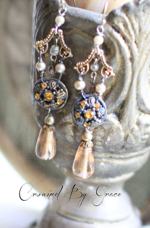 Caramel Latte Drops  vintage assemblage earrings by crownedbygrace