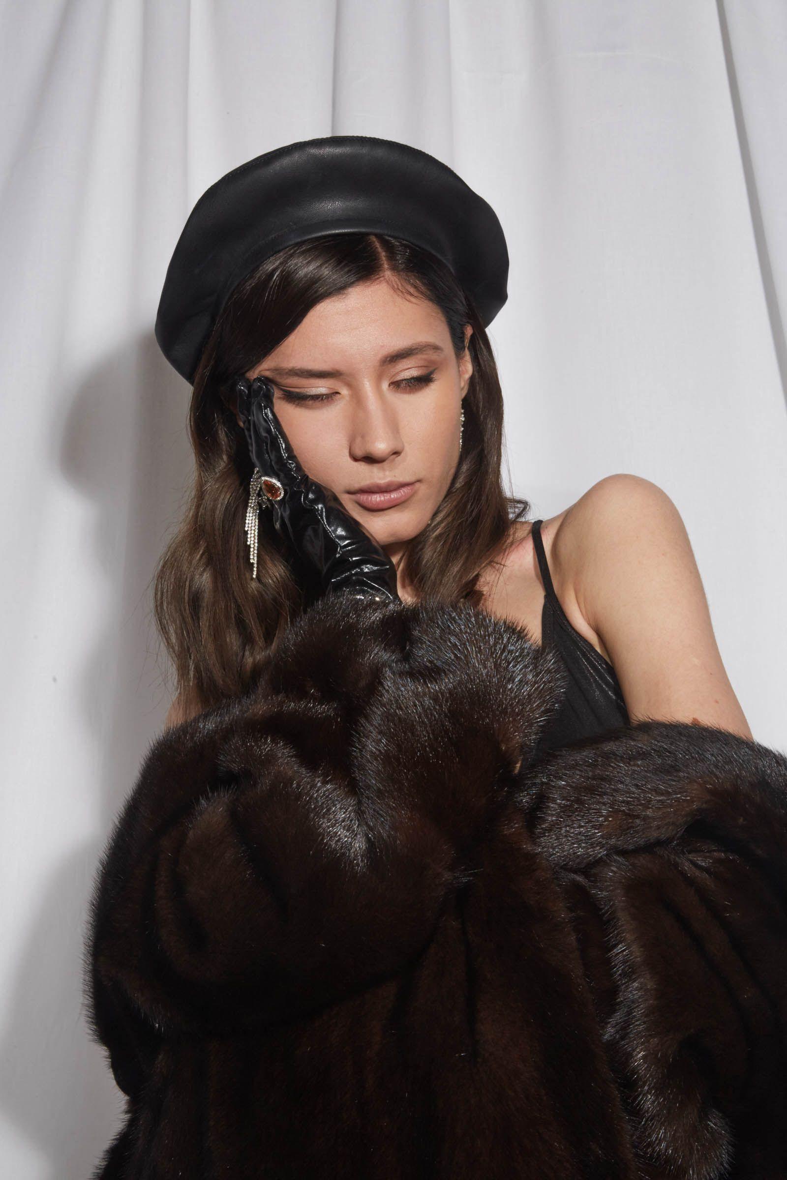 ALEXA Black eco leather beret 0e69f217f03