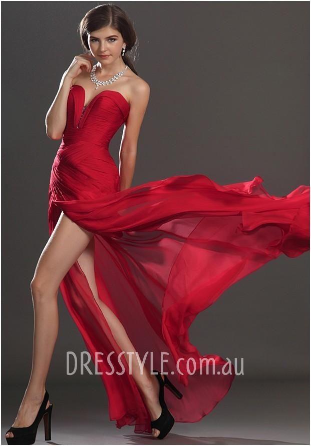 Red Chiffon Strapless Prom Dress