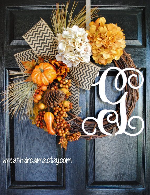Fall Monogram Grapevine Wreath with Burlap Fall Wreath Autumn