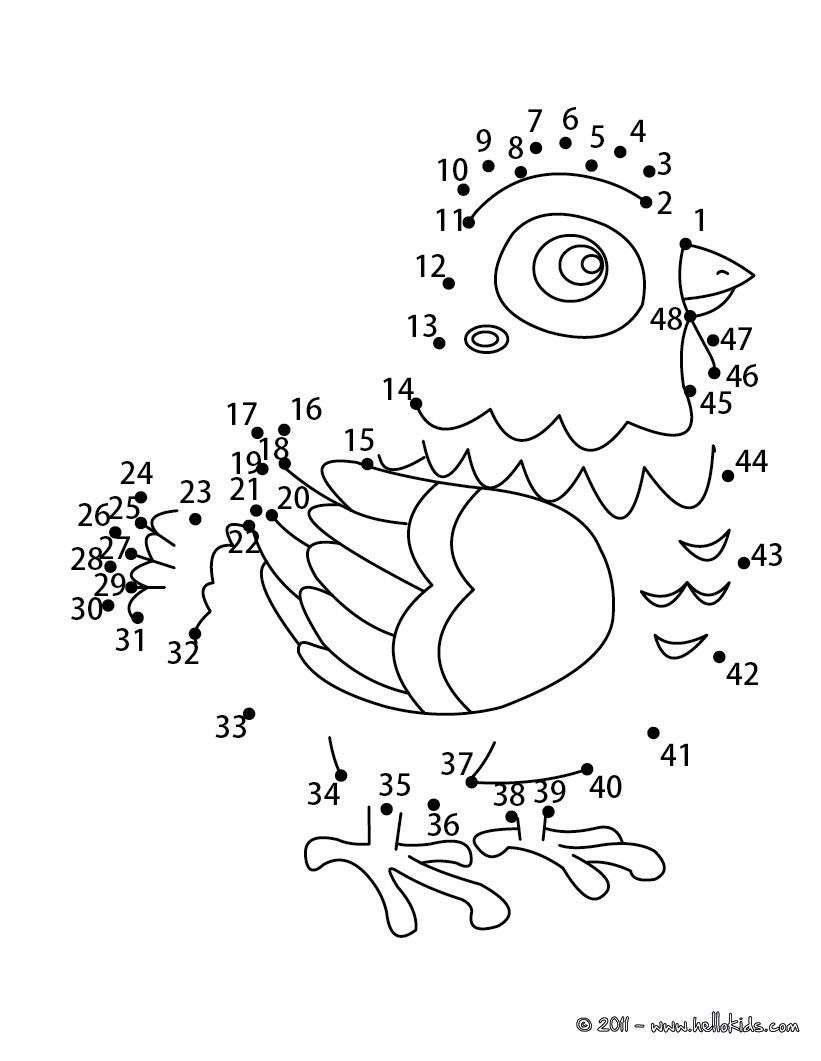 Easter chick dot to dot printable connect the dots game | Pobarvaj ...