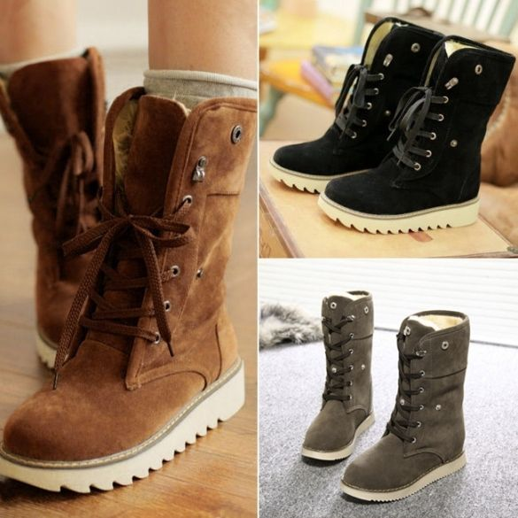 Women Girls Winter Warm Sneakers Snow Boots Lace Up Ankle Bootie