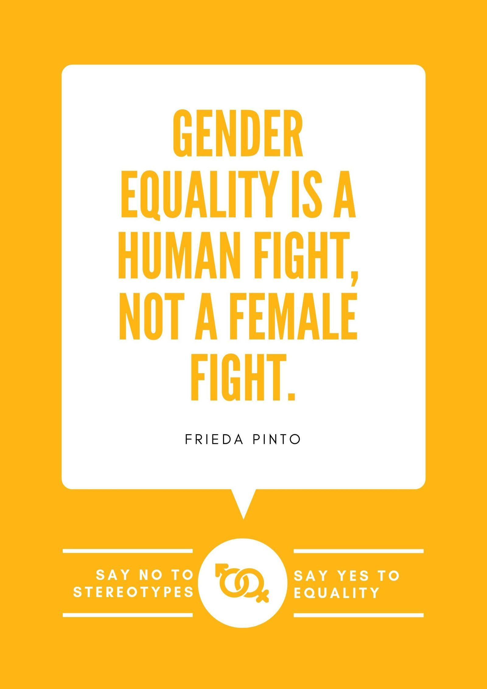 Orange Speech Bubble Gender Equality Quote Poster In 2020 Gender Equality Quotes Equality Quotes Gender Equality