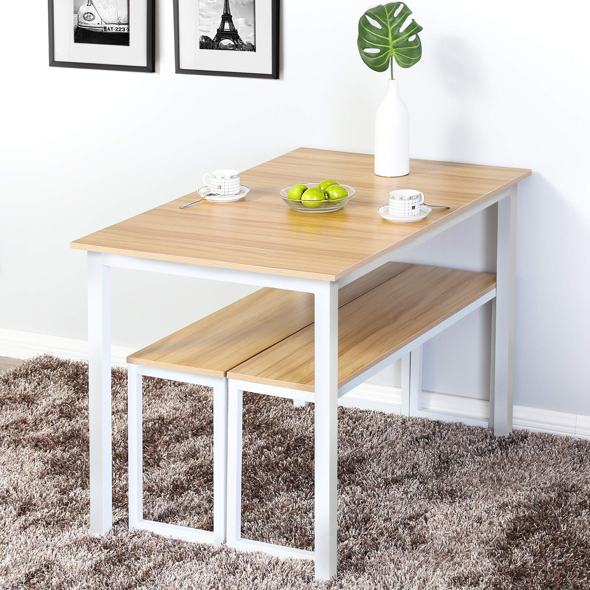 Homury 3 Piece Dining Table Set Breakfast Nook Dining Table With Two Benches Check Out The Image By Visit In 2020 Nook Dining Set Dining Room Small Small Dining Sets