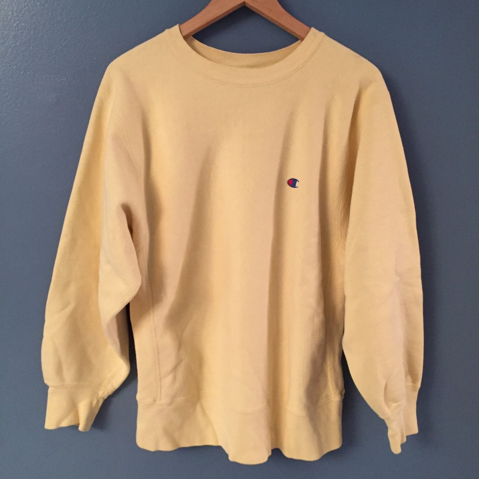Vintage Rare Light Yellow Cream Champion Reverse Weave Sweatshirt Mens  Large 90s 70f8b647c18b