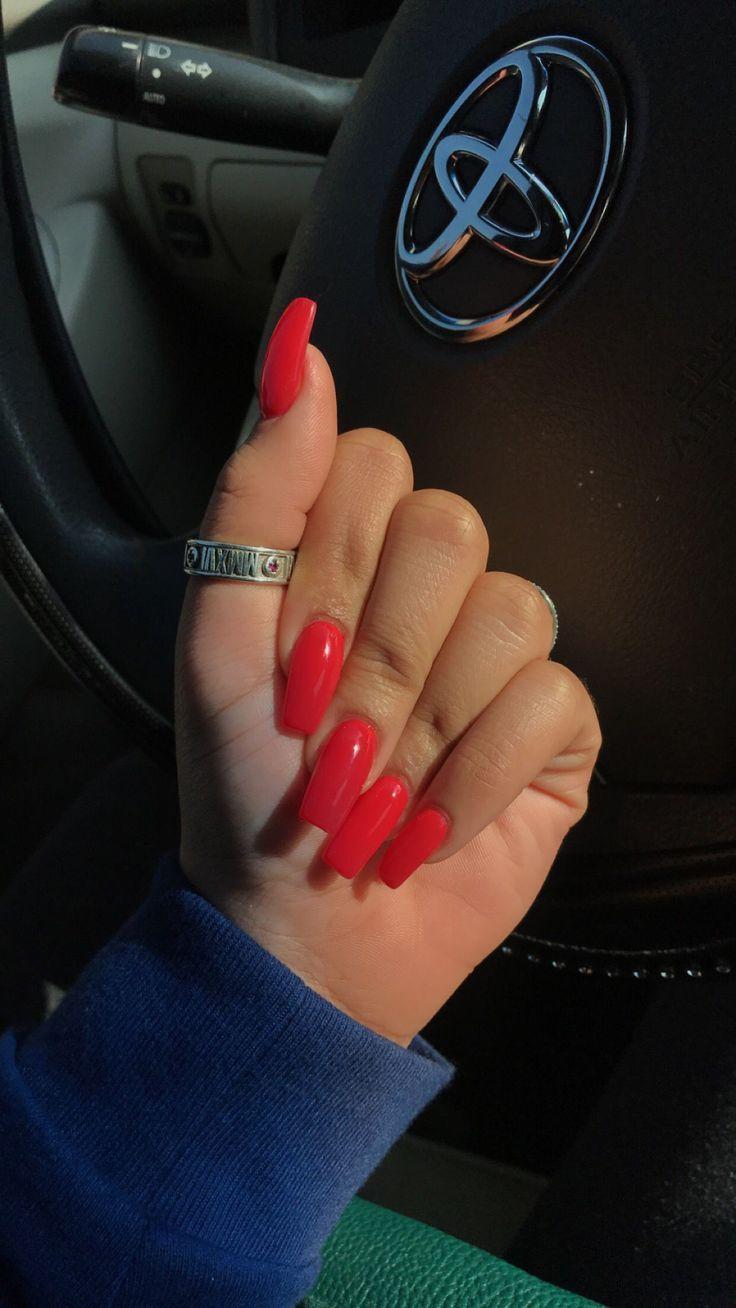 Red Orange Acrylic Nail! Follow me for bomb pins!! @chynagreenwood #FootSoakForToenails