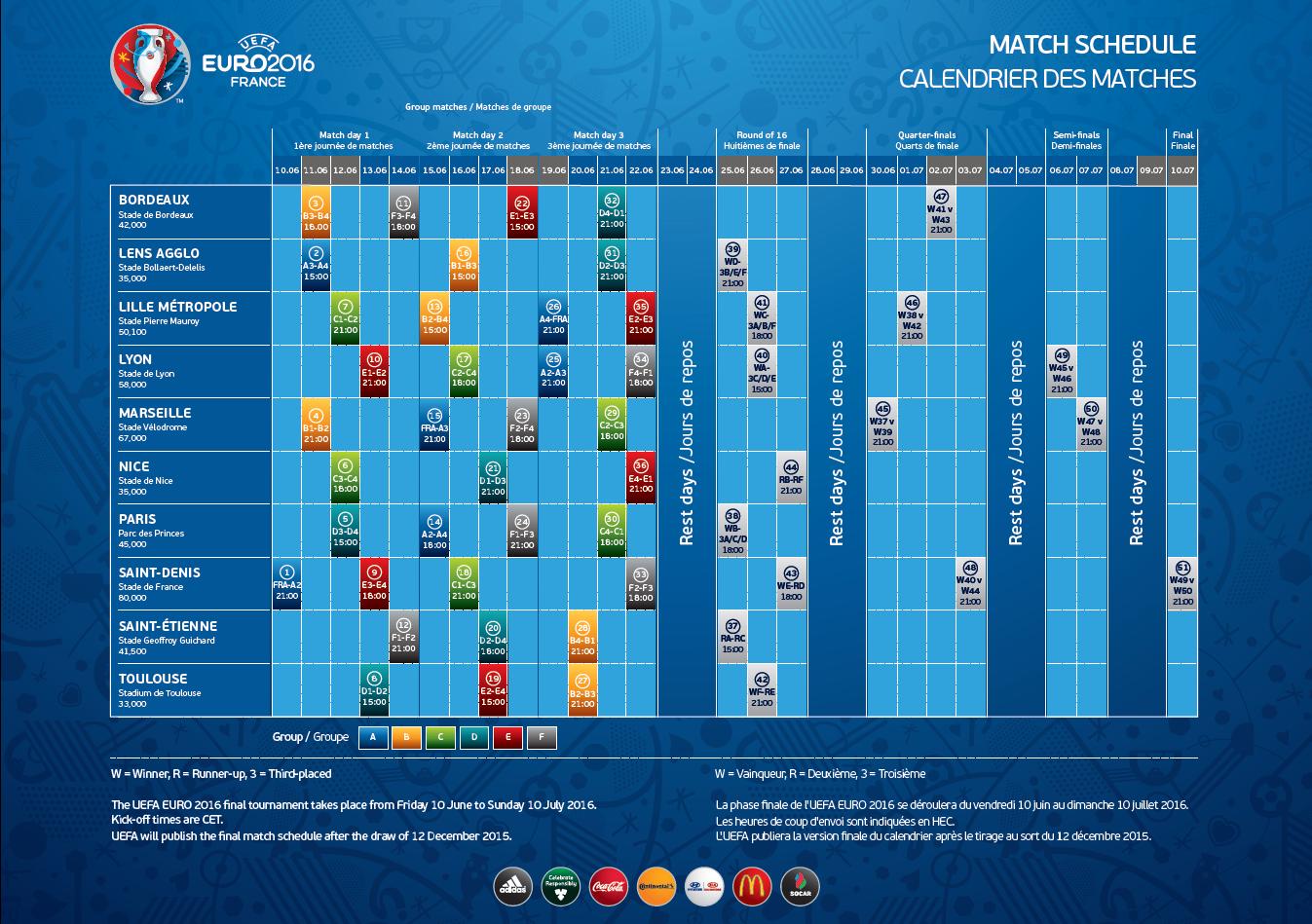 Euro Calendrier Match.Match Euro 2016