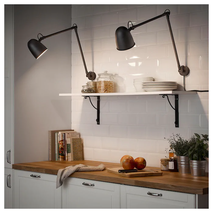 Skurup Work Wall Lamp With Led Bulb Black Ikea Black Wall Lamps Wall Lamp Led Bulb