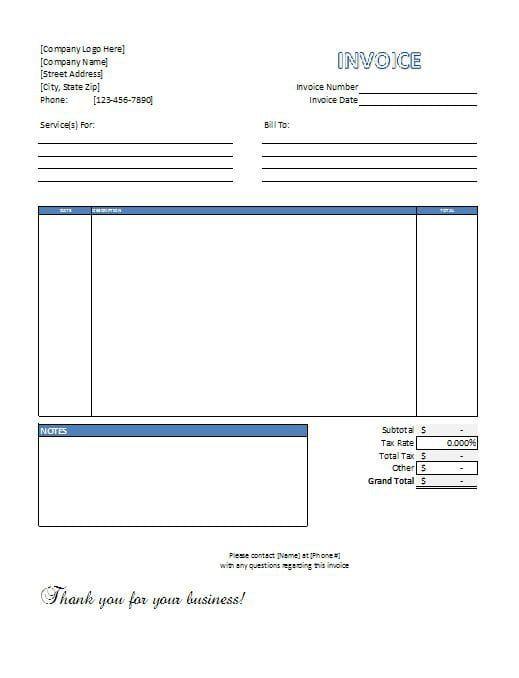 6+ Service Invoice Templates | Invoice template word ...