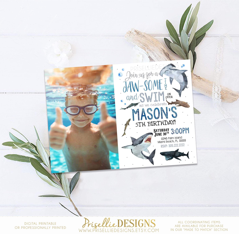 Shark Birthday Invitation Printable, Shark Jawsome Birthday ...
