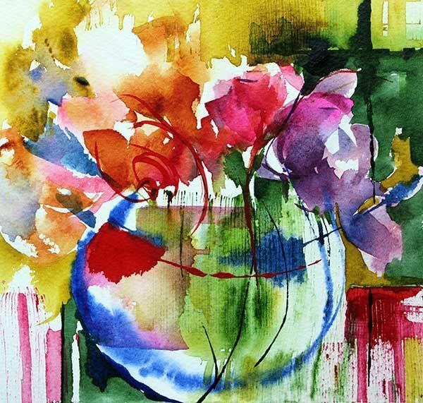 N 73 Peinture 15x15 Cm Par Veronique Piaser Moyen Aquarelle