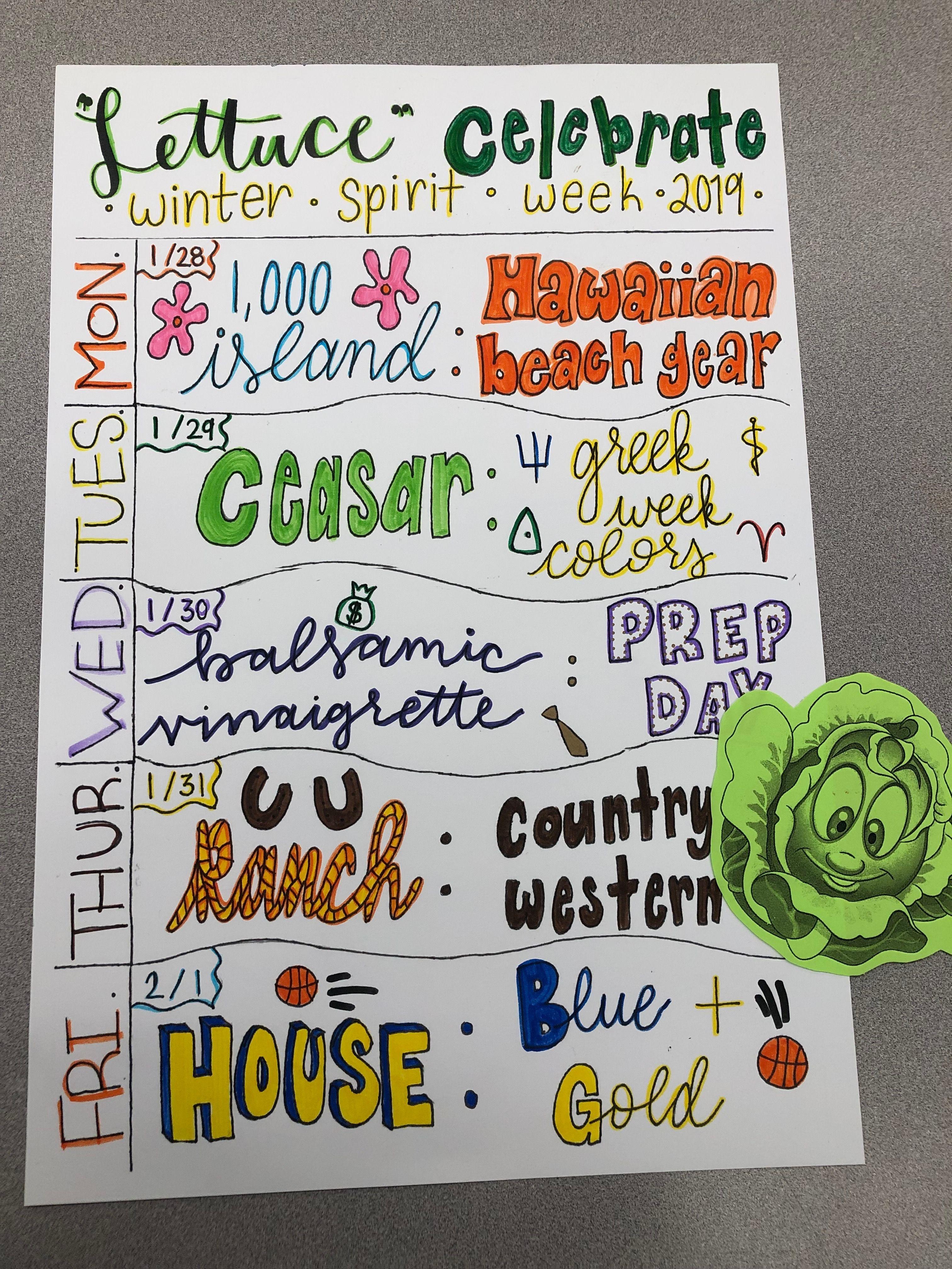 Aghs Lettuce Celebrate Winter Spirit Week 2019 School Spirit Week School Spirit Days Homecoming Spirit Week